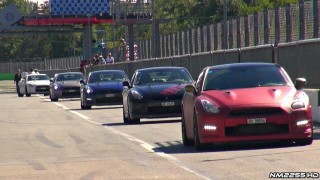 12x Nissan GT-R R35s Accelerating on the Track!