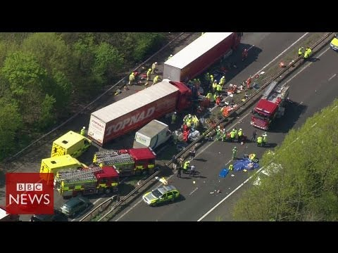 Aerial footage of M26 pile up – BBC News