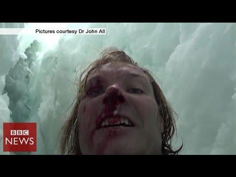 Climber films 20m crevasse fall in Himalayas – BBC News