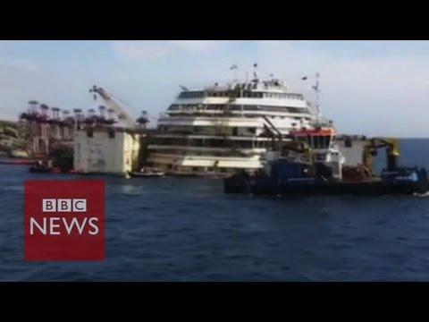 Close-up look at Costa Concordia wreckage – BBC News
