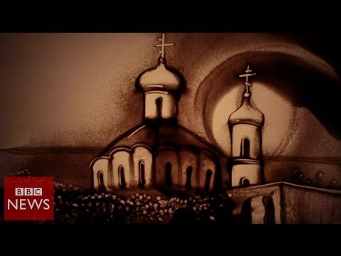 Crimean sand artist troubled by Ukraine violence – BBC News