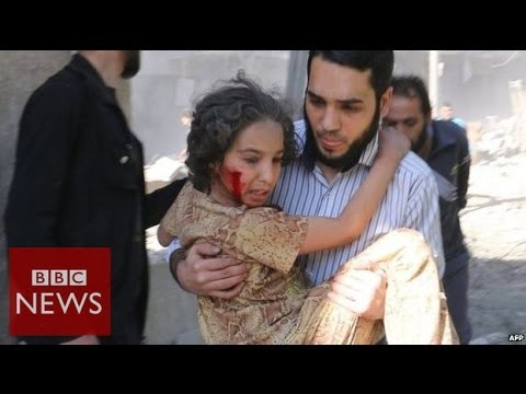 Effects of barrel bombs on Aleppo- BBC News