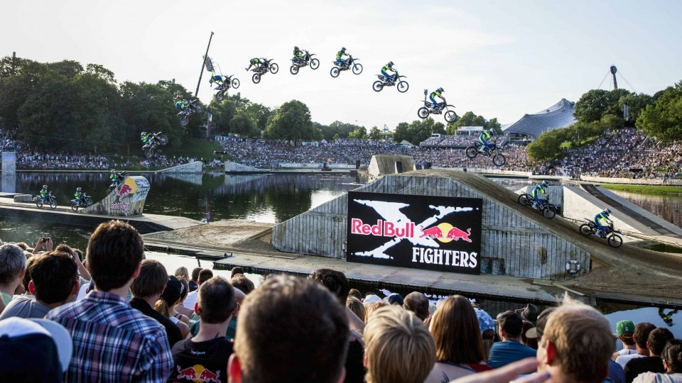 Freestyle motocross action on floating course – Red Bull X-Fighters Munich 2014