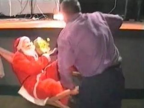 Funny Christmas Santa Goes Crashing Down