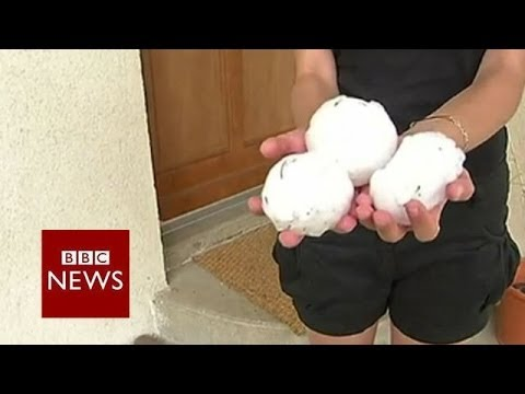 "Hail ""like golf balls"" as storms hit Europe – BBC News"