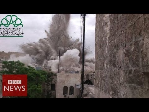 Huge blast 'destroys Aleppo hotel' – BBC News