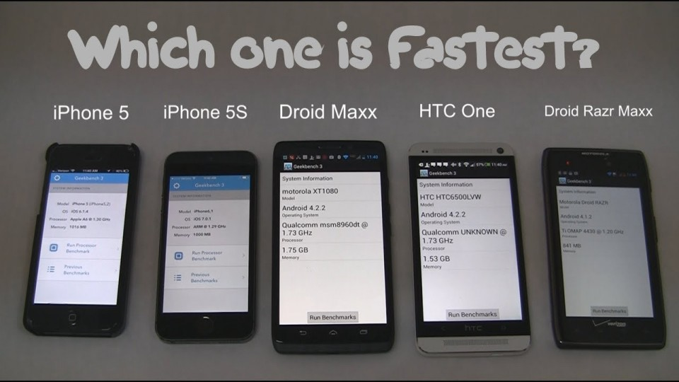 iPhone 5S, Droid Maxx, and HTC One Speed Test (GPU & CPU)