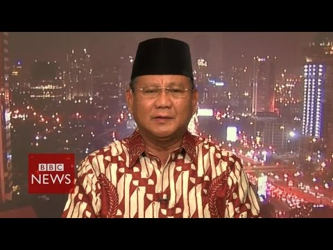 'Man of the people is an act' says Subianto about Widodo – Indonesia elections – BBC News