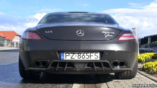 Mercedes SLS AMG with Akrapovic Exhaust LOUD Revs and Sound