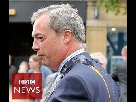Nigel Farage hit by egg at rally – BBC News