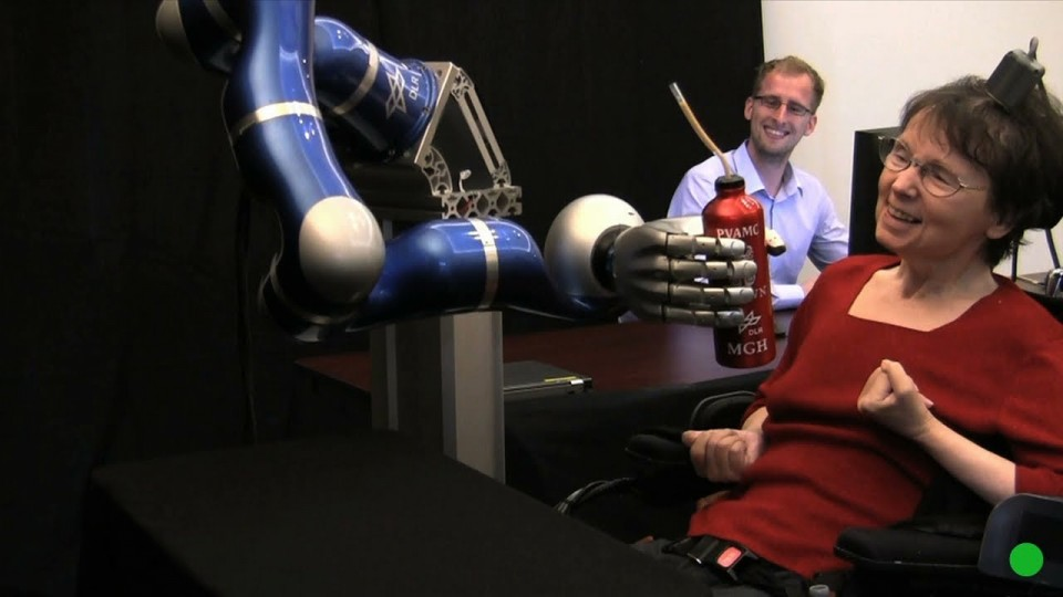 Paralysed woman moves robot with her mind – by Nature Video