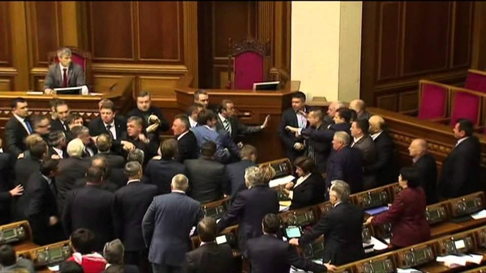 Violence breaks out at Ukraine parliament – BBC News