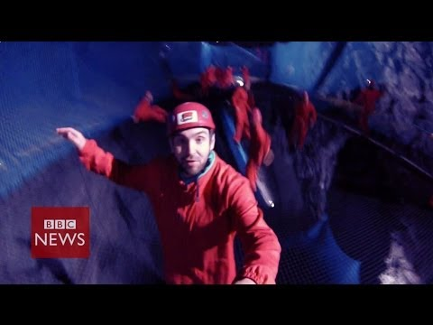 World's largest underground trampoline – BBC News