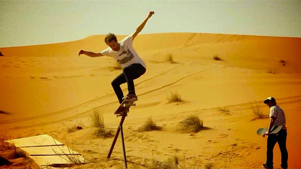 Skate session on sand dunes in the Moroccan Desert