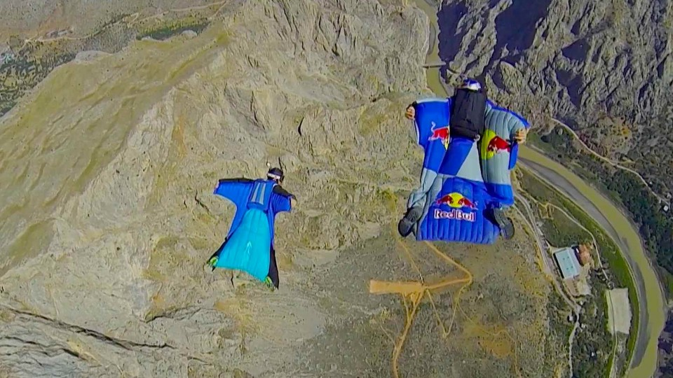 Wingsuit flying over Turkish mountains