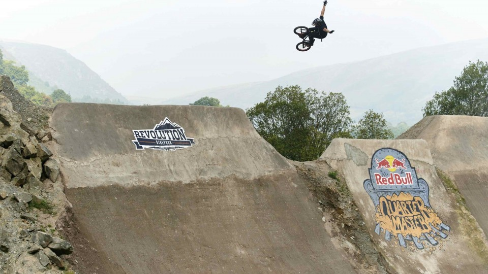 BMX Contest on Massive Dirt Quarterpipe