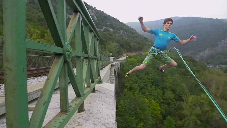 Domen Skofic Climbs and Jumps Off the Solkan Bridge