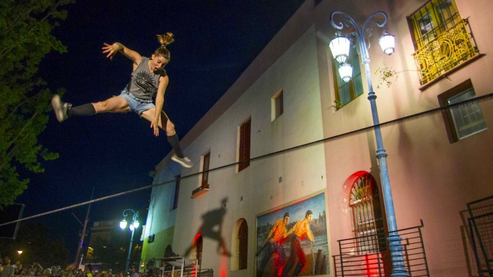 Slackline Tricking over Colorful Buenos Aires Streets