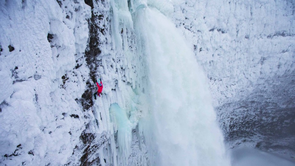 Ice Climbing Beside an Active Waterfall