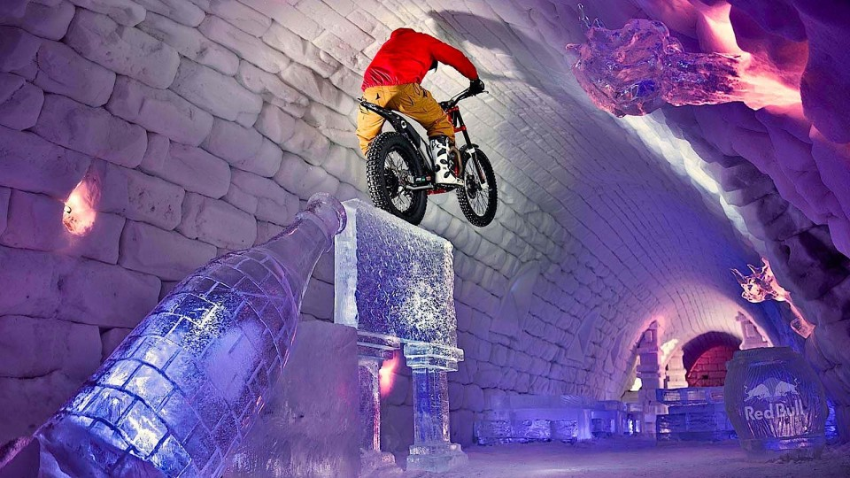 Moto Trials Riding Through Giant Igloo – Tundra Trial