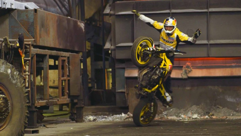 Sportbike Stunt Riding Tricks in a Warehouse