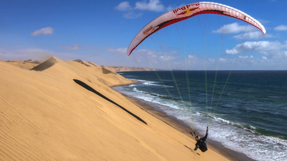 Paragliding Over Sand Dunes in Namibia